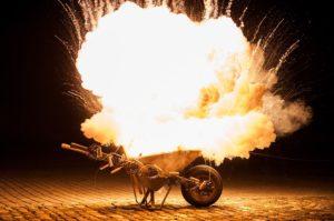 Explodierende Schubkarre